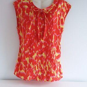 Gap Multi-Colored Cotton Print Top w/ Tie